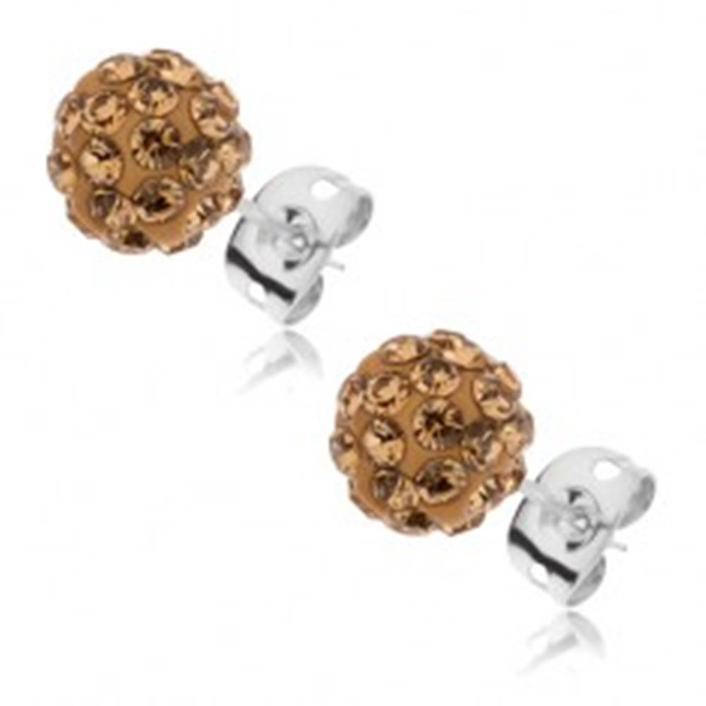 Šperky eshop Puzetové náušnice z ocele - trblietavé guličky s kamienkami zlatej farby, 8 mm