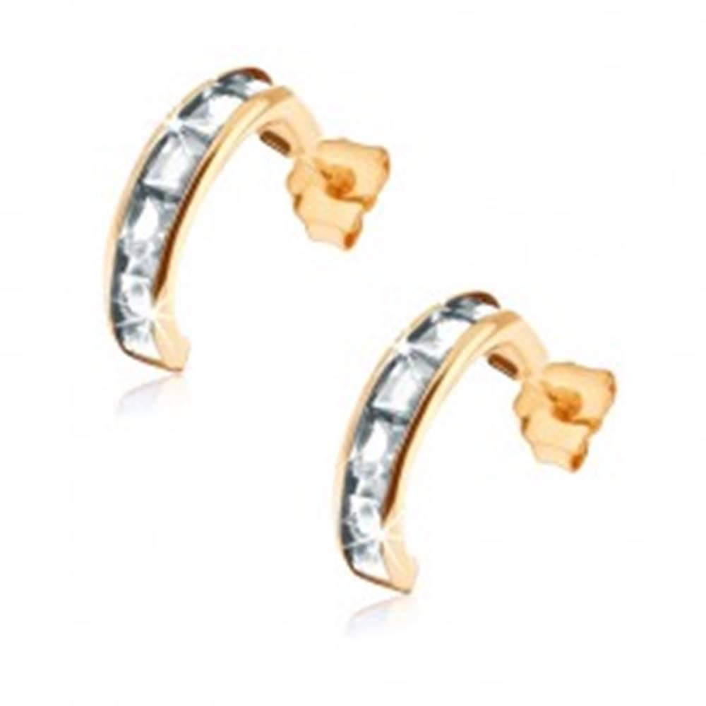 Šperky eshop Puzetové zlaté náušnice 375 - polkruhy vykladané pásom čírych zirkónov