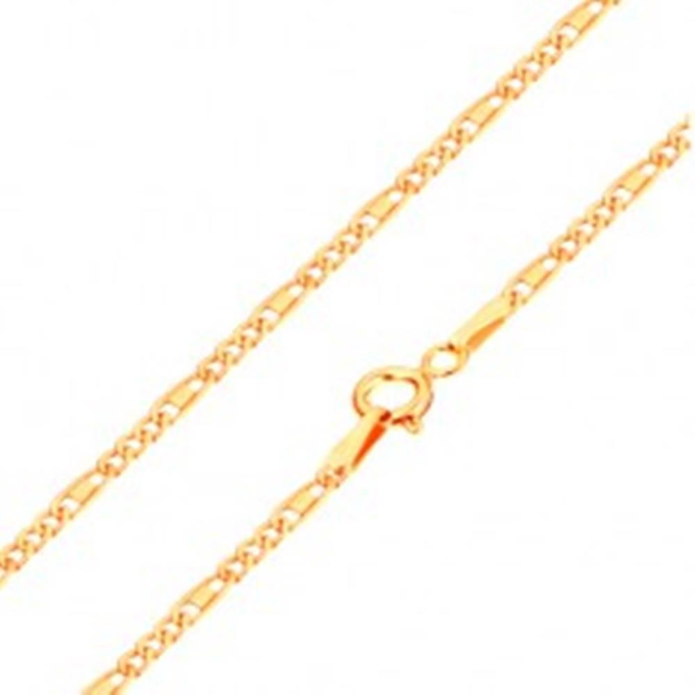 Šperky eshop Retiazka v žltom 14K zlate - oválne a podlhovasté očká, obdĺžnik, 440 mm