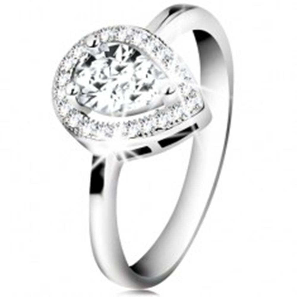 Šperky eshop Ródiovaný prsteň, striebro 925, číra zirkónová slza v žiarivej kontúre - Veľkosť: 48 mm
