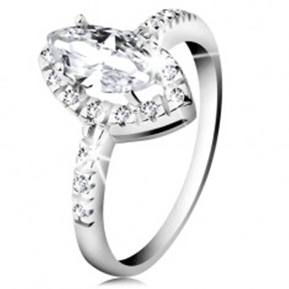 Šperky eshop Ródiovaný prsteň, striebro 925, zrnko čírej farby so zirkónovým lemom - Veľkosť: 48 mm