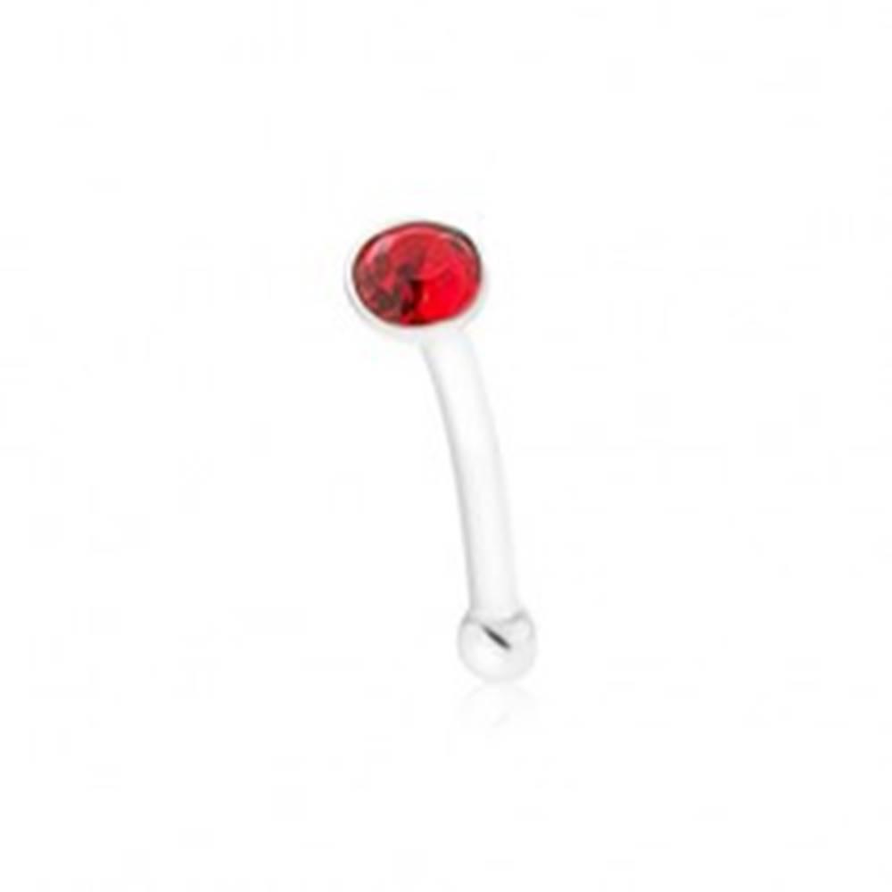 Šperky eshop Rovný piercing do nosa, striebro 925, okrúhly červený zirkónik