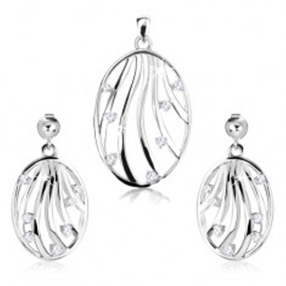 Šperky eshop Sada - strieborné náušnice a prívesok 925, kontúra oválu, zvlnené línie, zirkóny