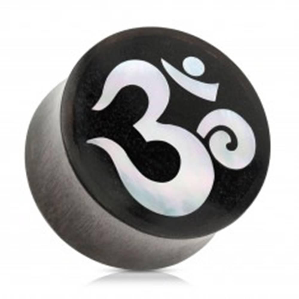 Šperky eshop Sedlový plug do ucha z dreva čiernej farby, duchovný symbol jógy ÓM - Hrúbka: 10 mm
