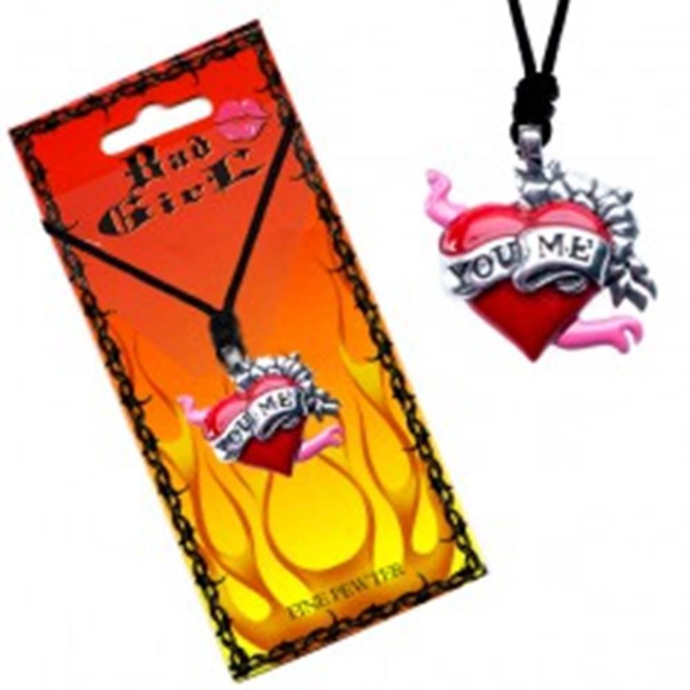 """Šperky eshop Šnúrkový náhrdelník, prívesok srdca s kvetmi a stuhou """"You Me"""""""