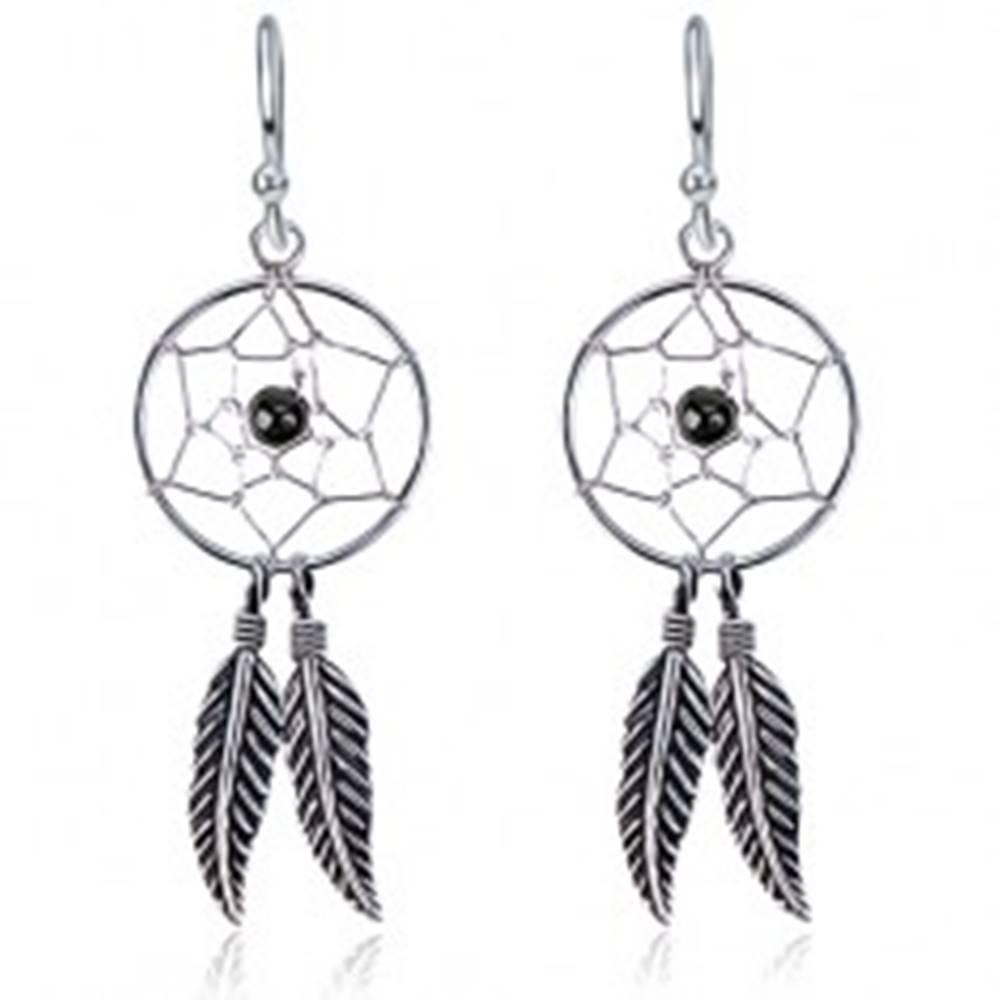 Šperky eshop Strieborné 925 náušnice na háčikoch - lapač snov, pierka, čierna guľôčka