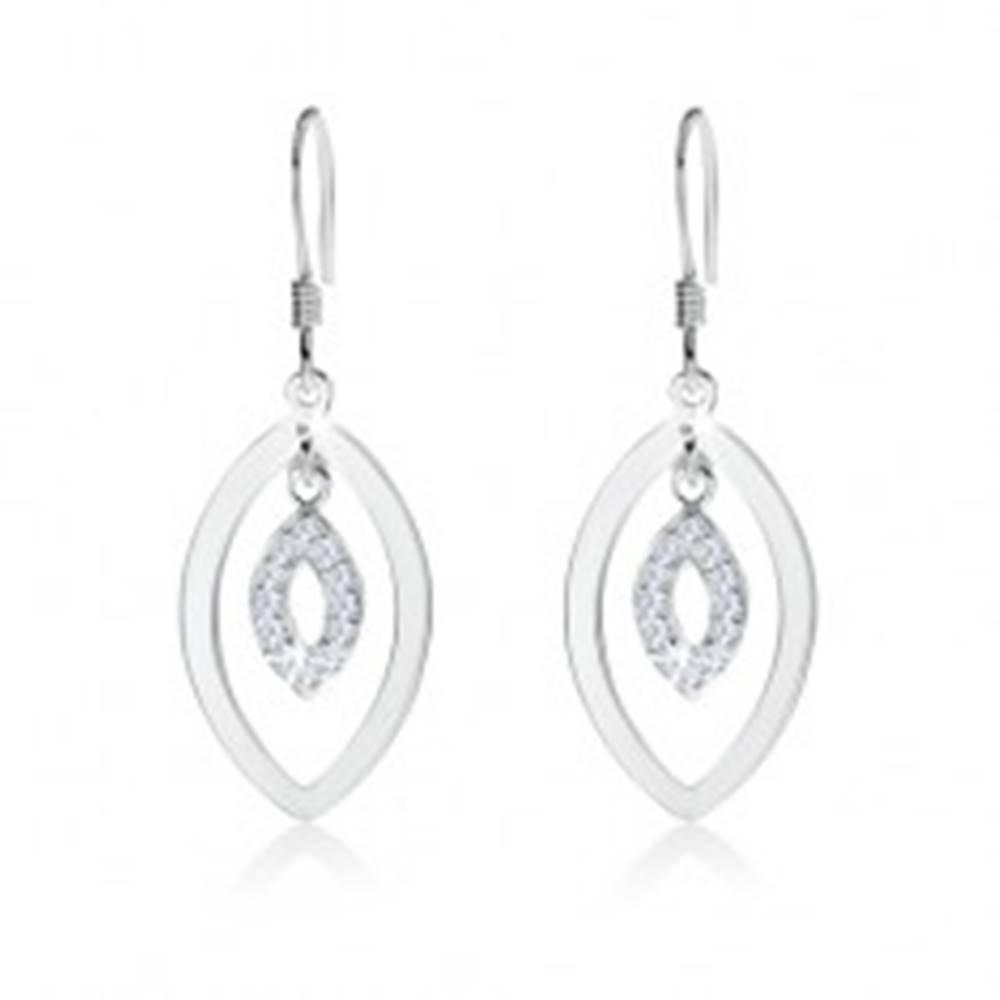 Šperky eshop Strieborné náušnice 925 s afroháčikom, dva obrysy oválov, číre zirkóny
