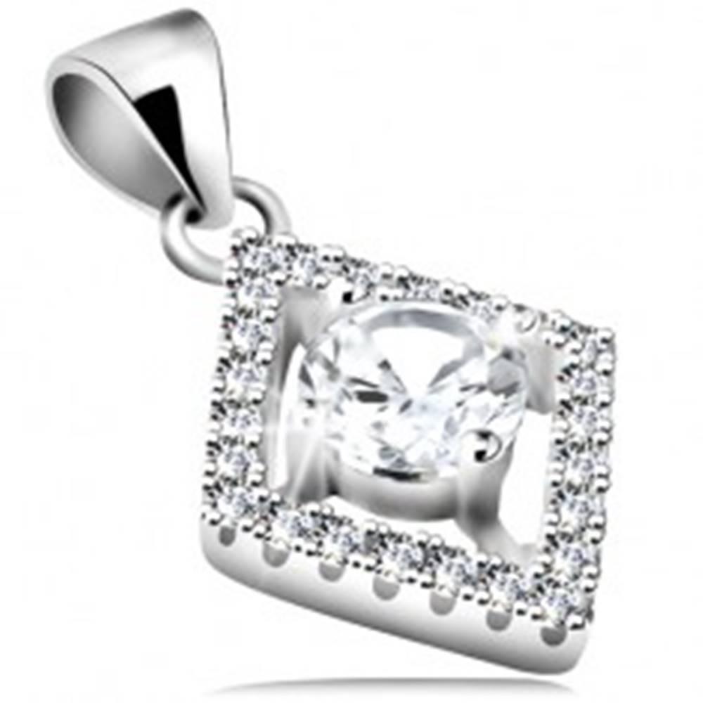 Šperky eshop Strieborný 925 prívesok, číry okrúhly zirkón v obryse kosoštvorca
