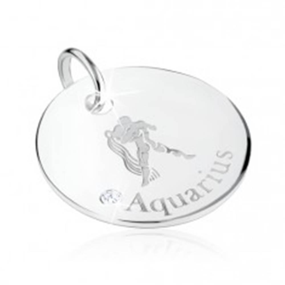 Šperky eshop Strieborný 925 prívesok - znamenie zverokruhu VODNÁR, číry zirkón