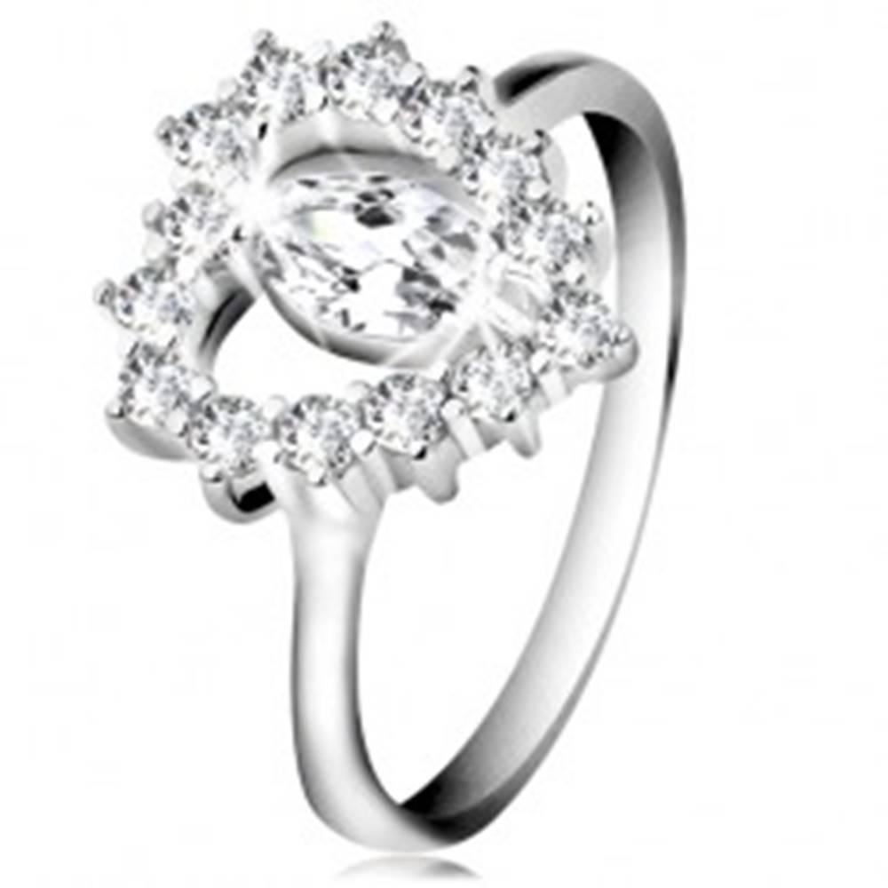 Šperky eshop Strieborný 925 prsteň, brúsené zirkónové zrnko, srdcový obrys, číre zirkóny - Veľkosť: 47 mm