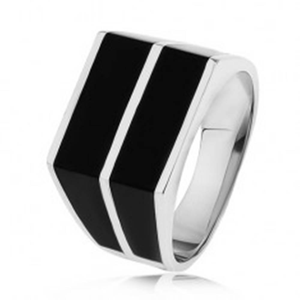 Šperky eshop Strieborný 925 prsteň - dve vodorovné línie čiernej farby, hladký povrch - Veľkosť: 54 mm