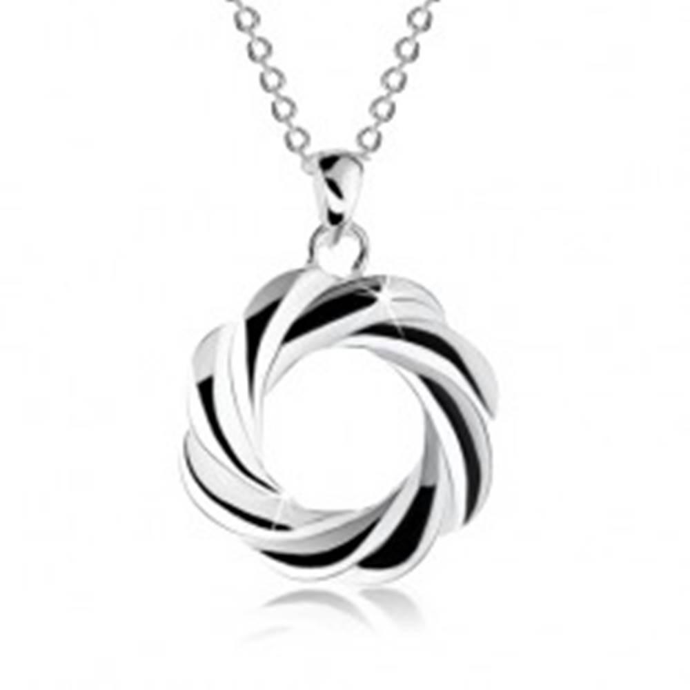Šperky eshop Strieborný náhrdelník 925, obrys kruhu so zatočenými líniami - veniec