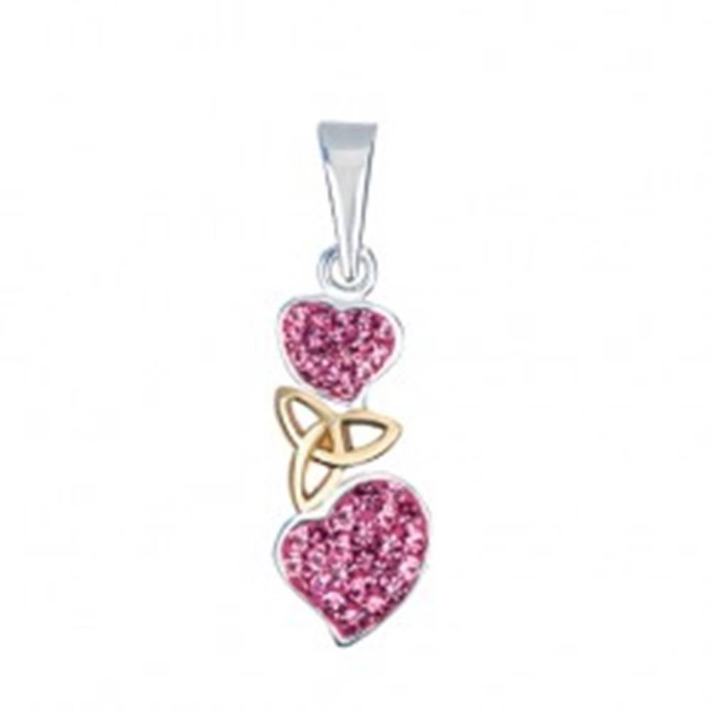 Šperky eshop Strieborný prívesok 925 - ružové srdcia s keltským uzlom