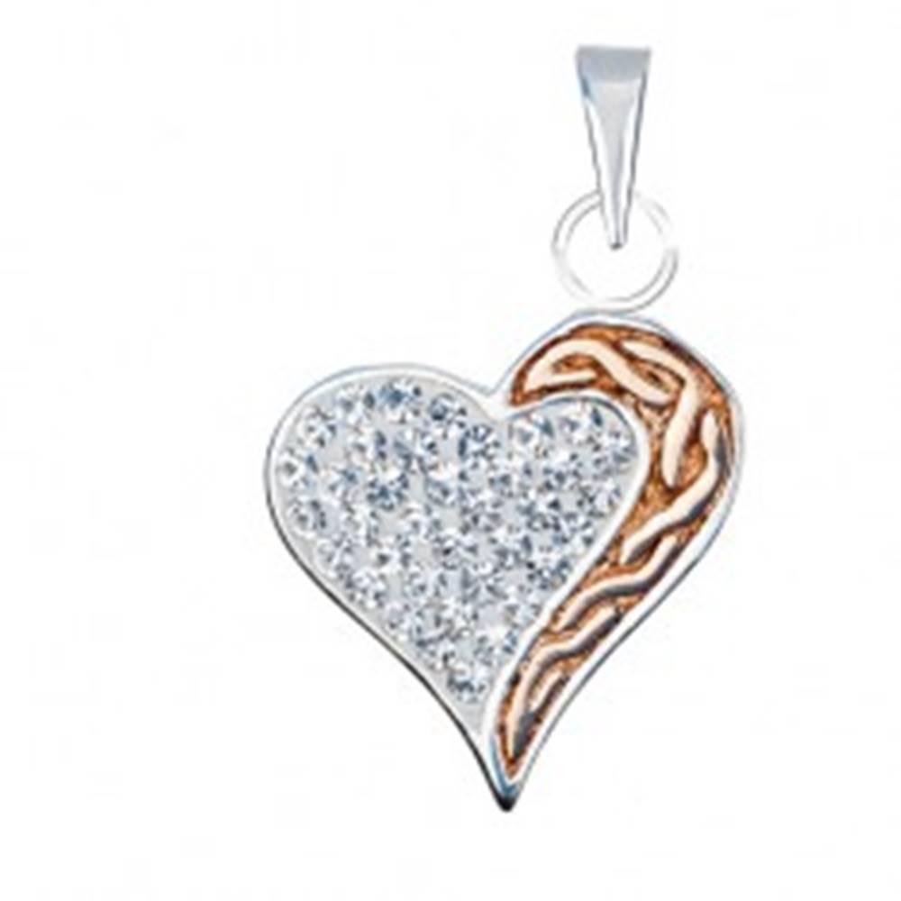 Šperky eshop Strieborný prívesok 925 - zirkónové srdce s pásom zlatej farby