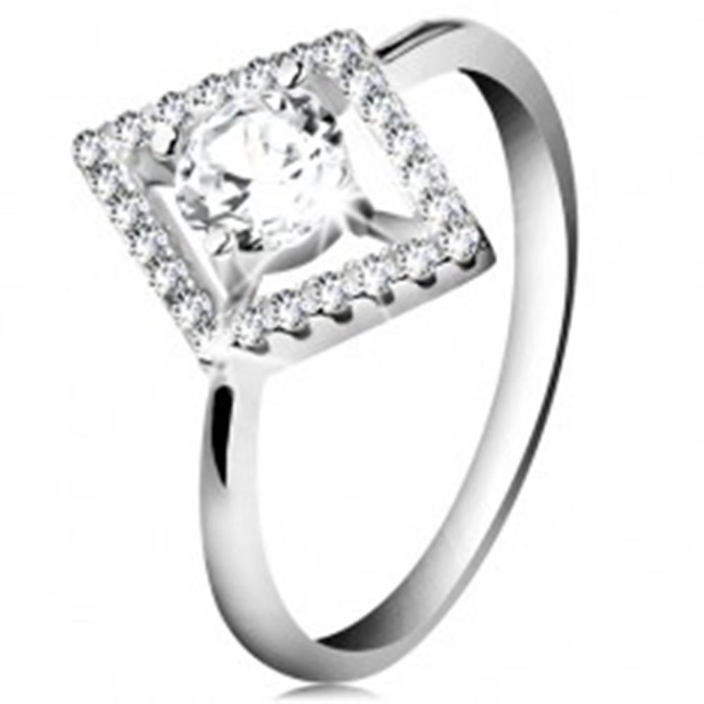 Šperky eshop Strieborný prsteň 925, číry okrúhly zirkón v trblietavom obryse kosoštvorca - Veľkosť: 48 mm