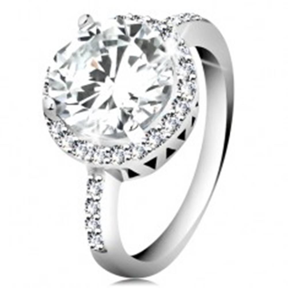 Šperky eshop Strieborný prsteň 925, okrúhly brúsený zirkón, číry zirkónový lem - Veľkosť: 49 mm