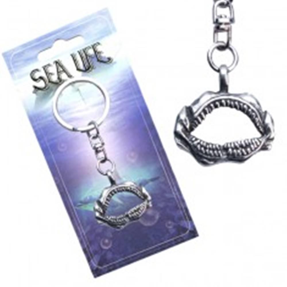 Šperky eshop Striebristý prívesok na kľúče, otvorená žraločia čeľusť