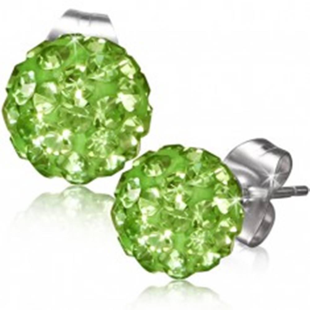 Šperky eshop Zelené puzetové náušnice, gulička s kamienkami