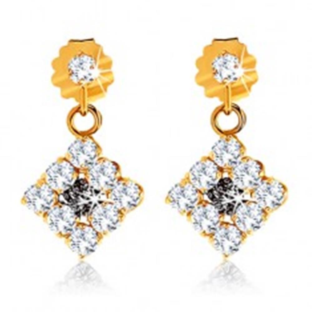 Šperky eshop Zlaté náušnice 375 - zirkónové kosoštvorce čírej farby, čierny zafír uprostred