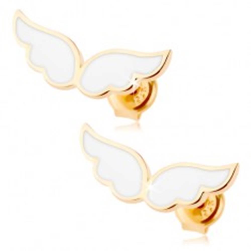 Šperky eshop Zlaté náušnice 585 - anjelské krídla zdobené bielou glazúrou, puzetky