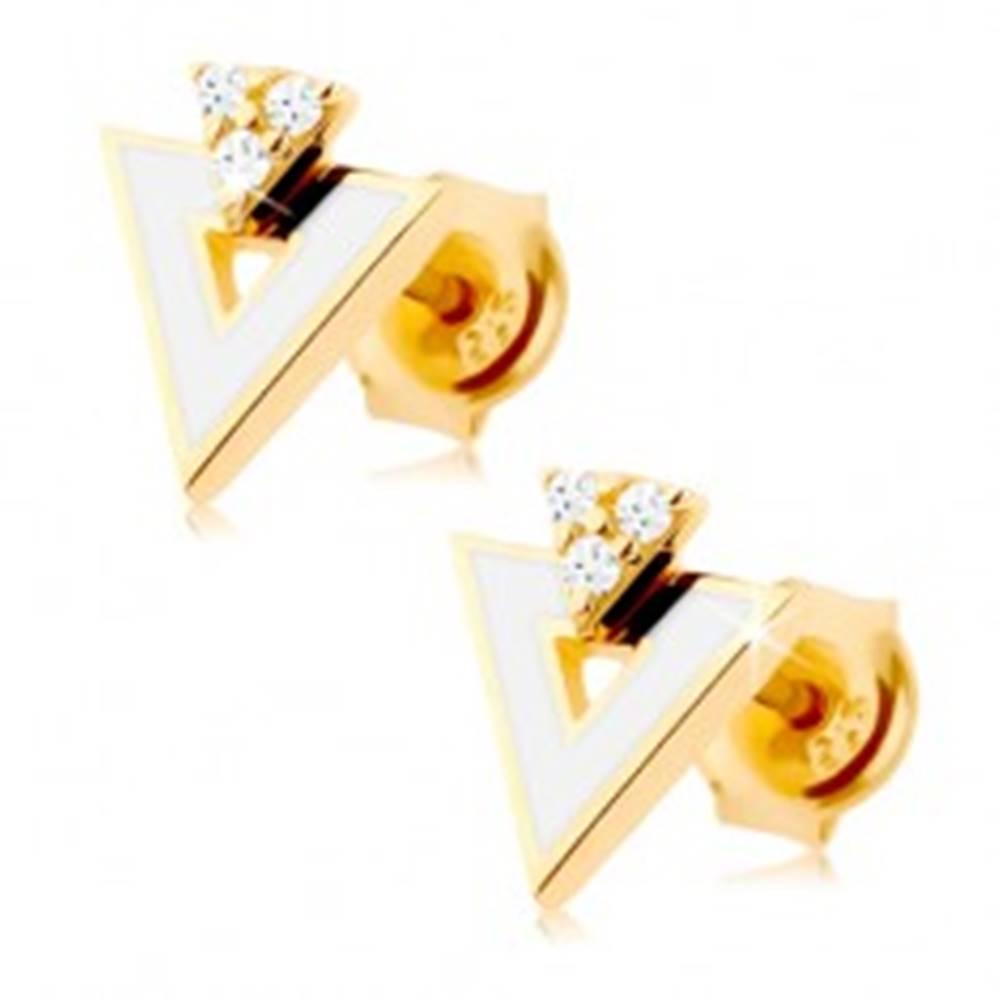 Šperky eshop Zlaté náušnice 585 - biely trojuholník s výrezom, tri číre zirkóniky