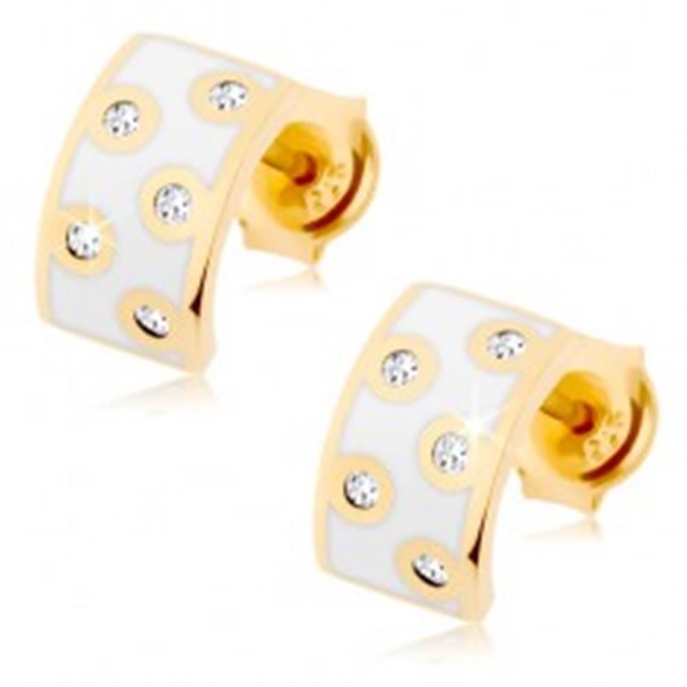 Šperky eshop Zlaté náušnice 585 - polkruh s bielou glazúrou, číre zirkóniky v lesklom obryse