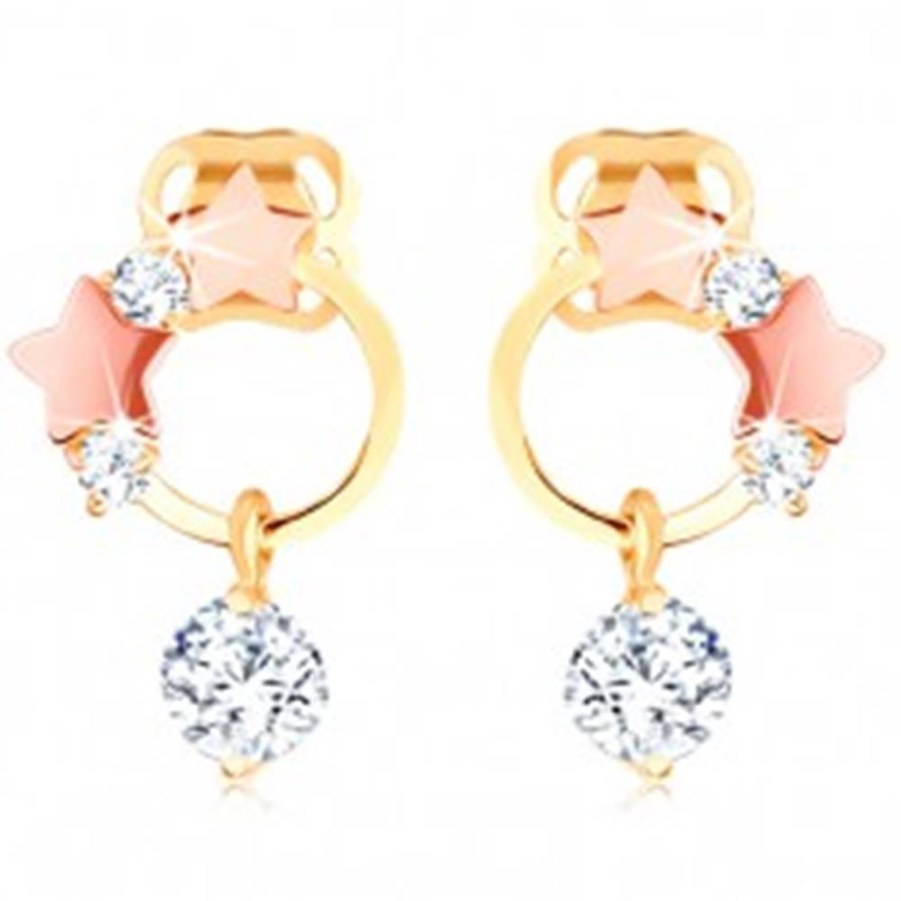 Šperky eshop Zlaté náušnice 585 - tenká obruč, hviezdičky z ružového zlata, číre zirkóny