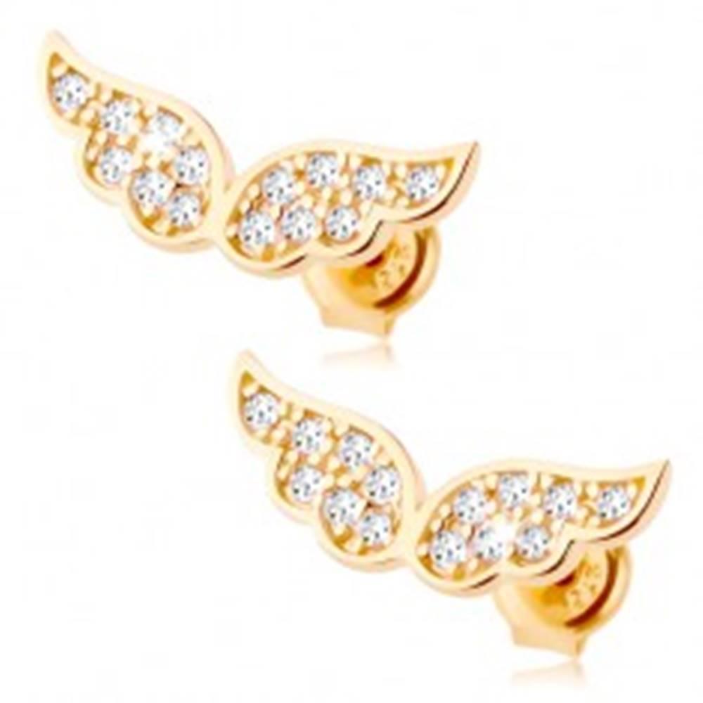 Šperky eshop Zlaté náušnice 585 - trblietavé anjelské krídla vykladané čírymi zirkónikmi