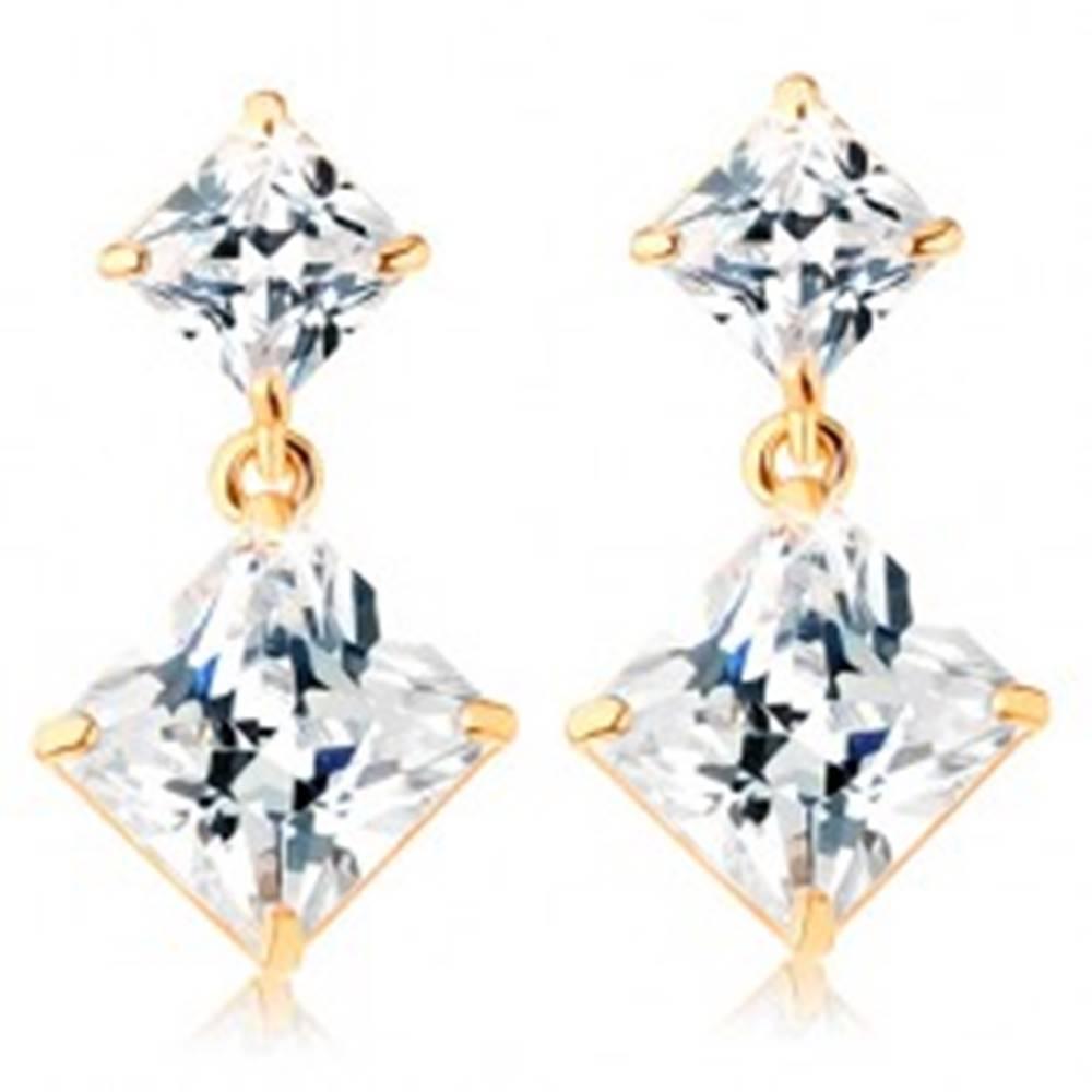 Šperky eshop Zlaté puzetové náušnice 585 - dva zirkónové štvorce čírej farby