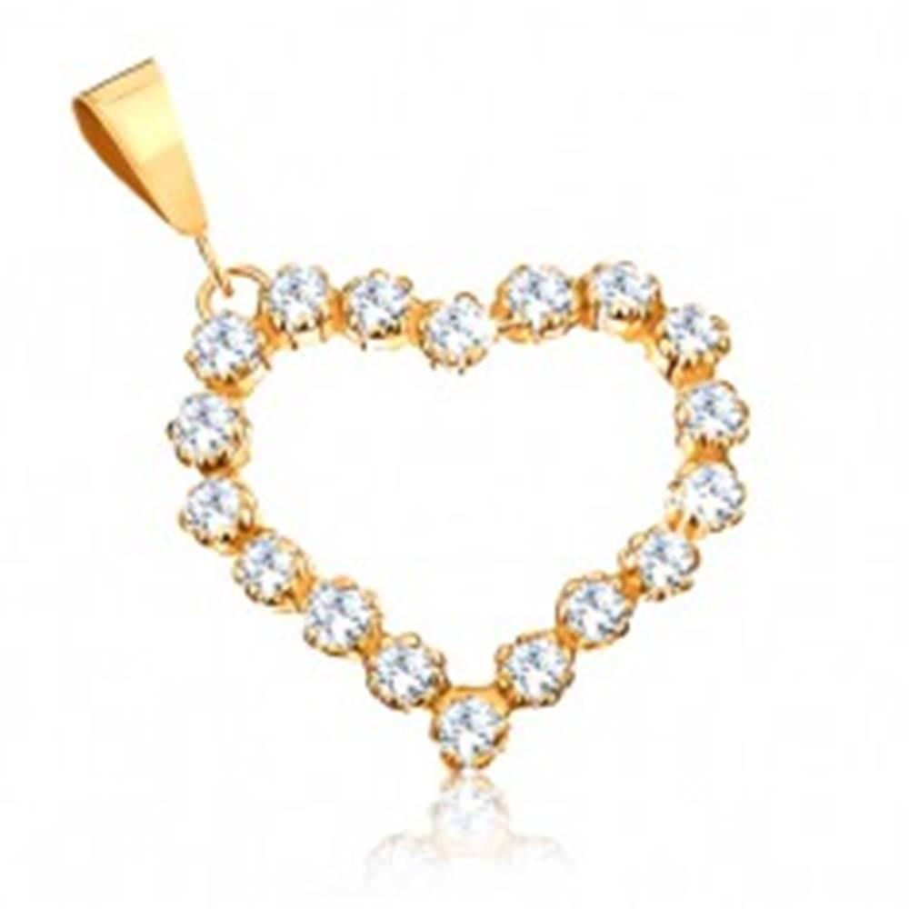 Šperky eshop Zlatý prívesok 375 - číra zirkónová kontúra súmerného srdiečka
