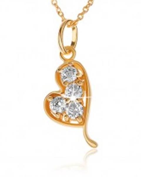 Šperky eshop Náhrdelník zo striebra 925, zlatá farba, asymetrické srdiečko, číre zirkóny