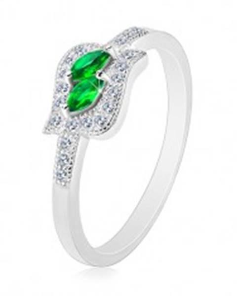 Šperky eshop Strieborný 925 prsteň, zelené zirkónové zrnká v čírej kontúre, ródiovaný - Veľkosť: 47 mm