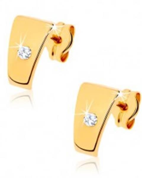 Šperky eshop Zlaté briliantové náušnice 585 - lesklé lichobežníky s čírym diamantom v strede