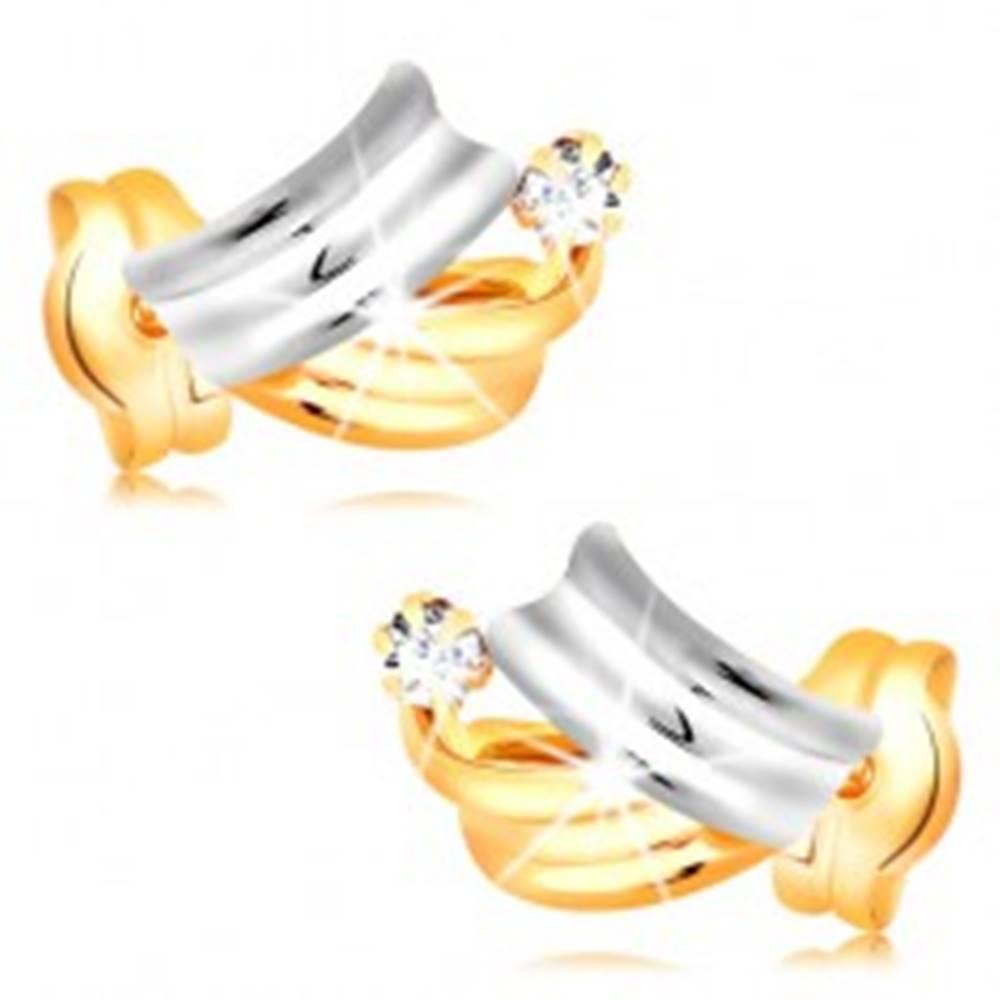 Šperky eshop Briliantové zlaté náušnice 14K - lesklé dvojfarebné oblúky, číry okrúhly diamant