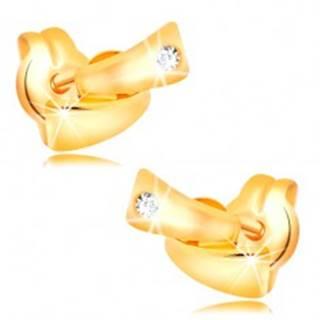 Diamantové náušnice v žltom 14K zlate - dva malé oblúky, číry briliant