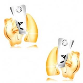 Diamantové náušnice zo 14K zlata - dvojfarebné oblúky, číry briliant