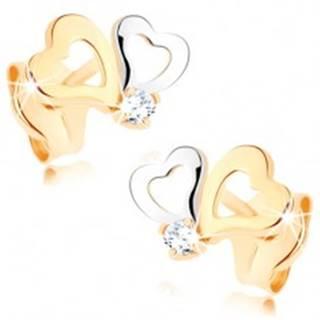 Diamantové náušnice zo zlata 585 - dvojfarebné kontúry sŕdc, číry briliant