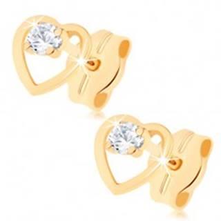 Diamantové náušnice zo žltého 14K zlata - číry briliant v kontúre srdiečka