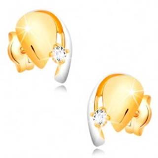 Diamantové zlaté 14K náušnice, dvojfarebná kvapka so žiarivým briliantom