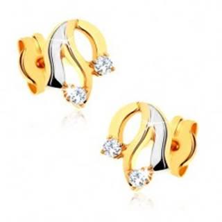 Diamantové zlaté náušnice 585 - lesklé zvlnené línie, trblietavé číre brilianty
