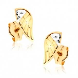 Dvojfarebné ródiované náušnice v 9K zlate - gravírované anjelské krídlo