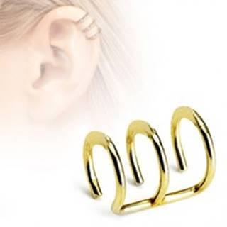 Falošný oceľový piercing do chrupavky - tri krúžky v zlatom farebnom odtieni