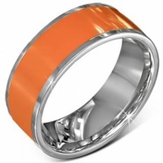 Hladká oceľová obrúčka v oranžovej farbe s okrajom striebornej farby - Veľkosť: 56 mm