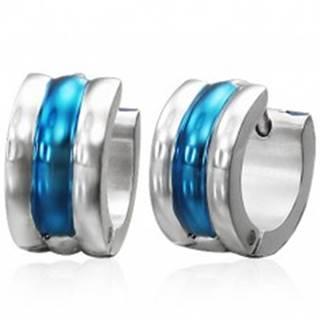 Kĺbové oceľové náušnice, strieborná a modrá farba, tri vypuklé línie