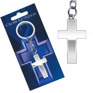 Kovový prívesok na kľúče - lesklý latinský kríž