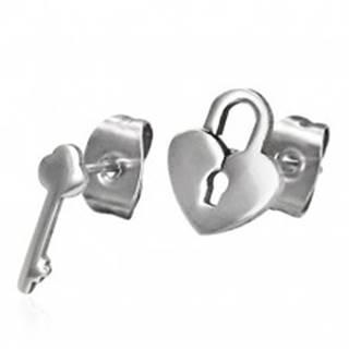 Lesklé oceľové náušnice - rozličný vzor - zámok a kľúč, puzetky