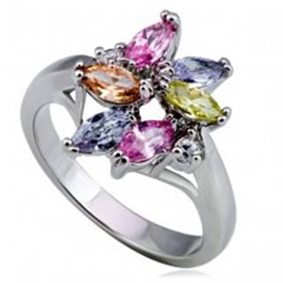 Lesklý kovový prsteň - kvet, farebné slzičkové a okrúhle zirkóny - Veľkosť: 49 mm