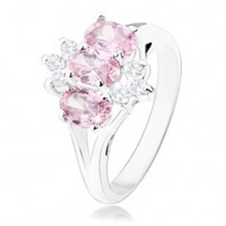 Lesklý prsteň v striebornom odtieni, ružové zirkónové ovály, číre zirkóniky - Veľkosť: 51 mm