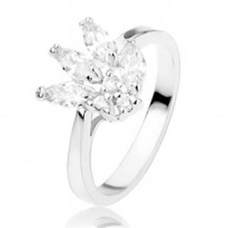 Lesklý prsteň zdobený trblietavými zirkónmi čírej farby, hladké ramená - Veľkosť: 54 mm