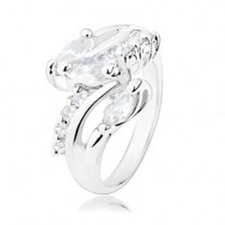 Ligotavý prsteň, ramená striebornej farby, okrúhle a zrnkové číre zirkóny - Veľkosť: 49 mm